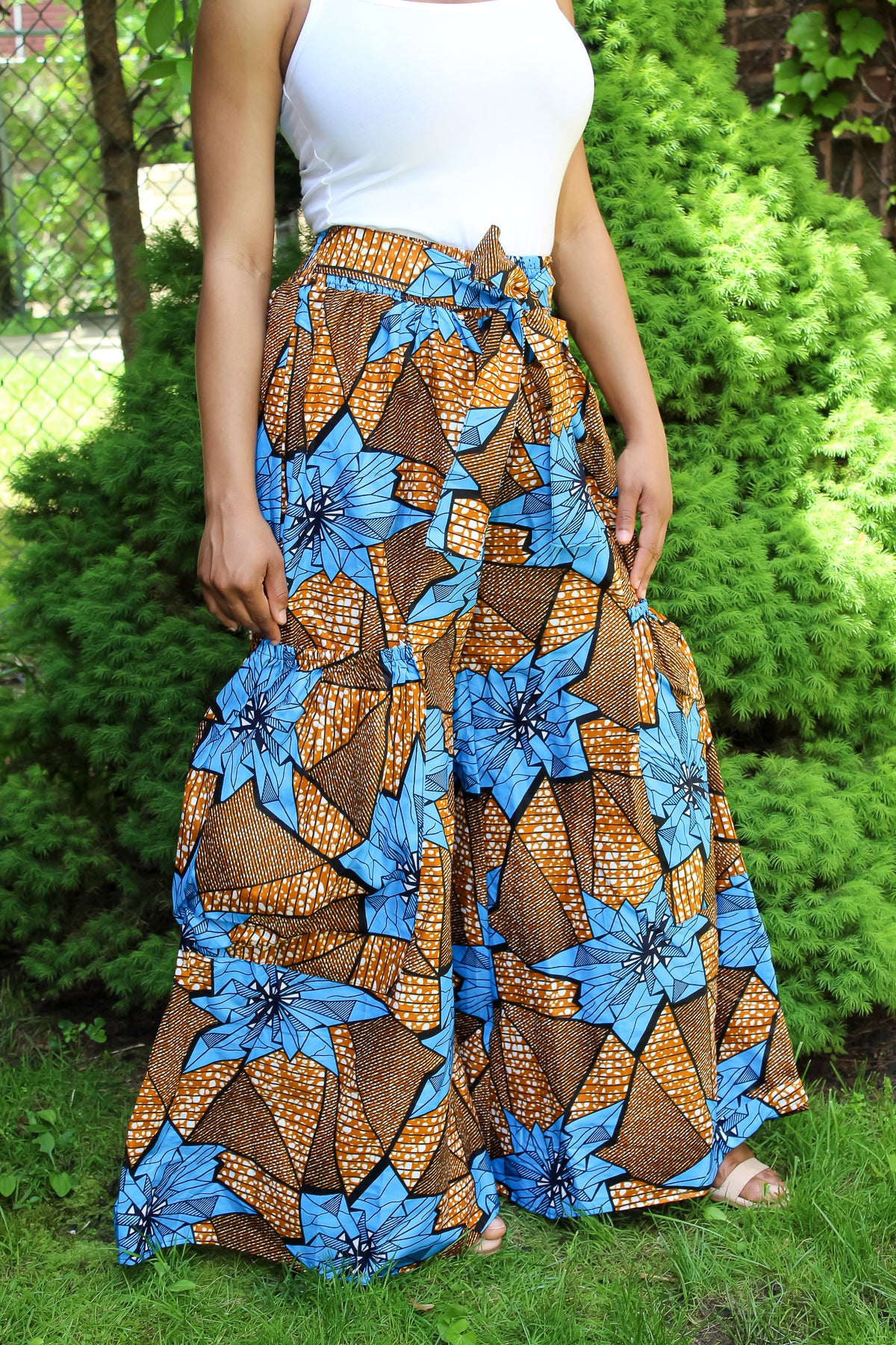 Blue Flower African Print Pants