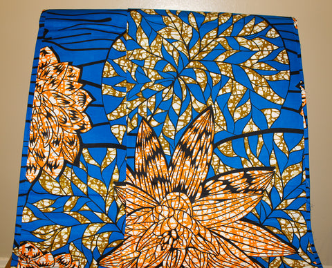 Blue & Orange Floral Fabric