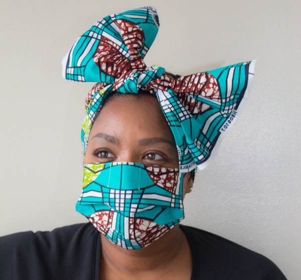 Mask & Head Wrap Set, Teal