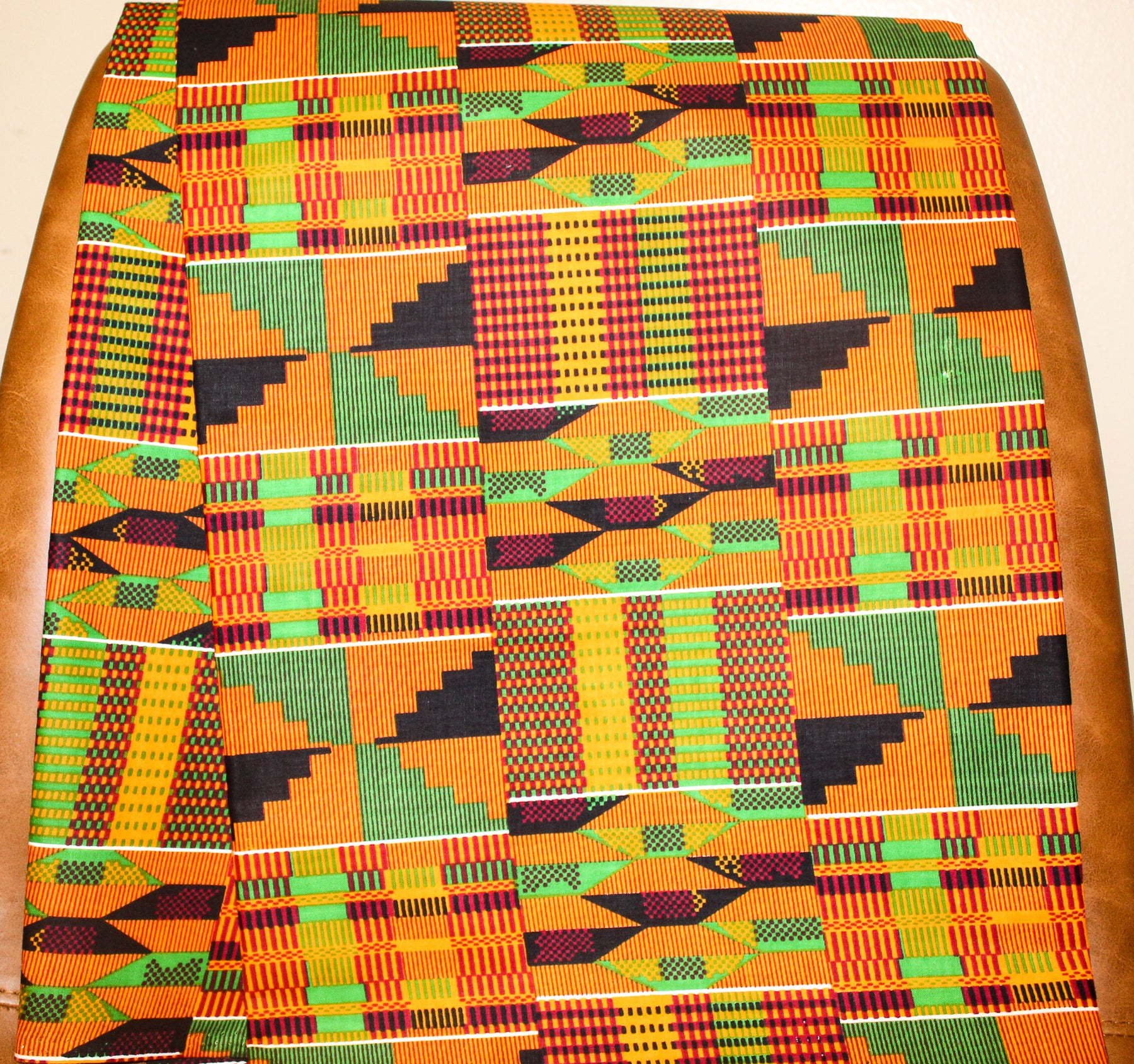 Classic Kente Print Fabric (Orange, Green, Black)