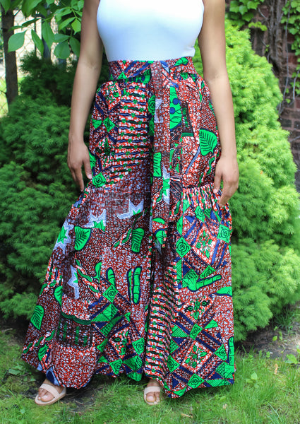 Orange, Green,  Blue African Print Pants