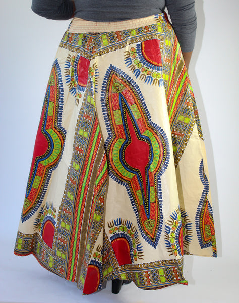 Ivory & Red Dashiki Print Maxi Skirt