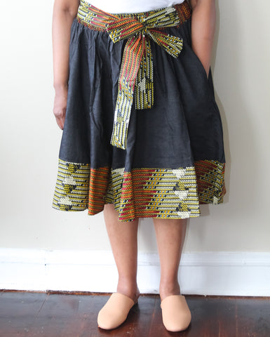 Black Denim Ankara Trim Skirt