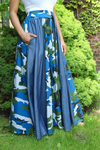 Blue Camo & Denim Maxi Skirt