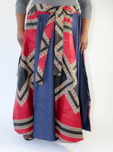 Denim & Wine Ankara Print Skirt