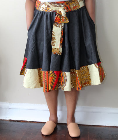 Dark Denim & Ankara Skirt