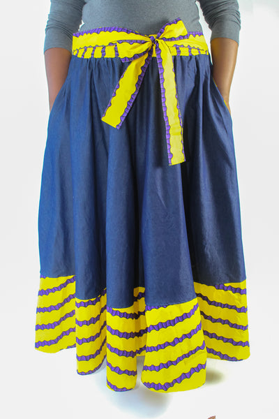 Denim, Purple & Yellow Ankara Trim Skirt