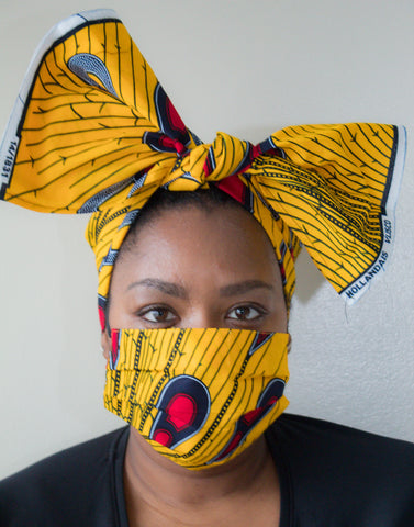 Ankara Print Gold, Red, Navy Mask with matching head wrap