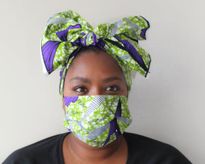 Mask & Head Wrap Set, Purple