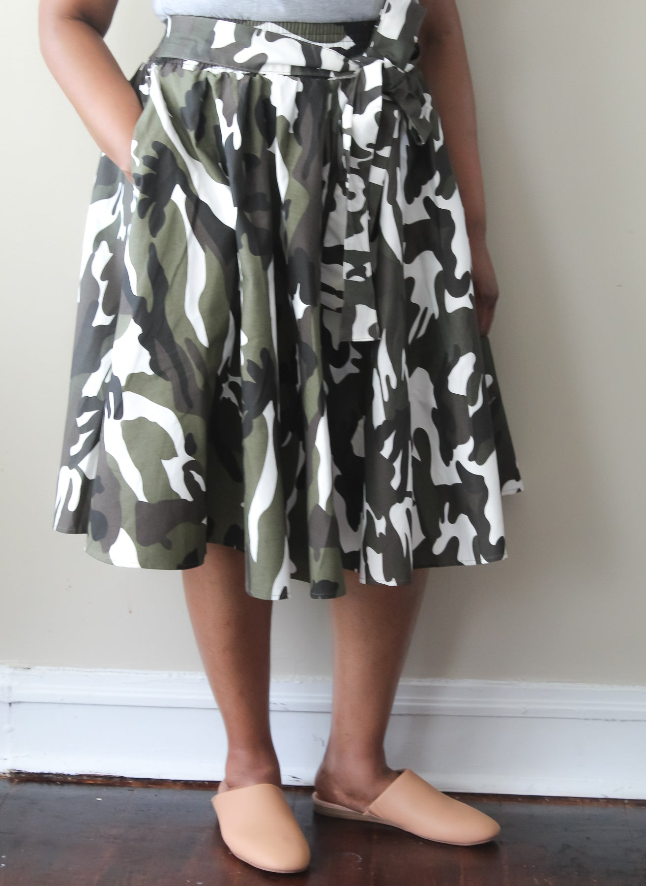 White & Grey Camo Skirt