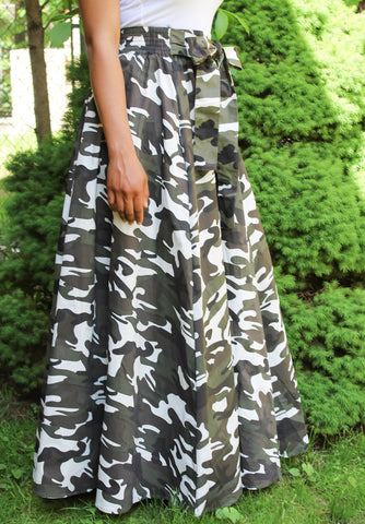 Grey & White Camo Maxi Skirt
