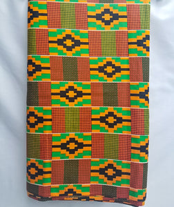 Black, Orange & Green Kente Fabric