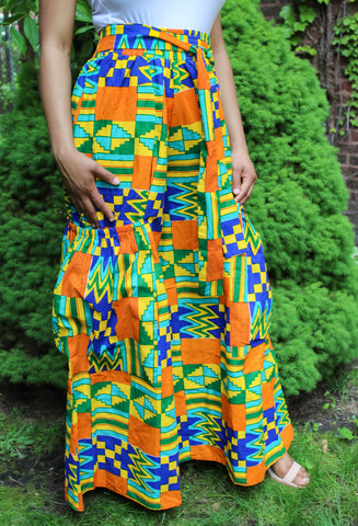 Royal Orange Kente Print Pants