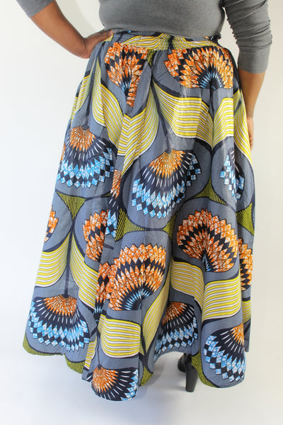 Blue, Orange, & Yellow Printed Skirt