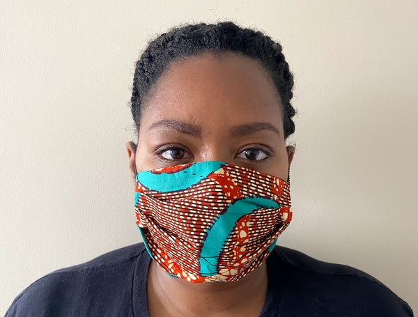 Teal African Print Face Mask