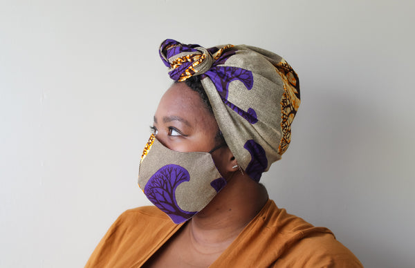 Purple Tree Mask & Head Wrap Set