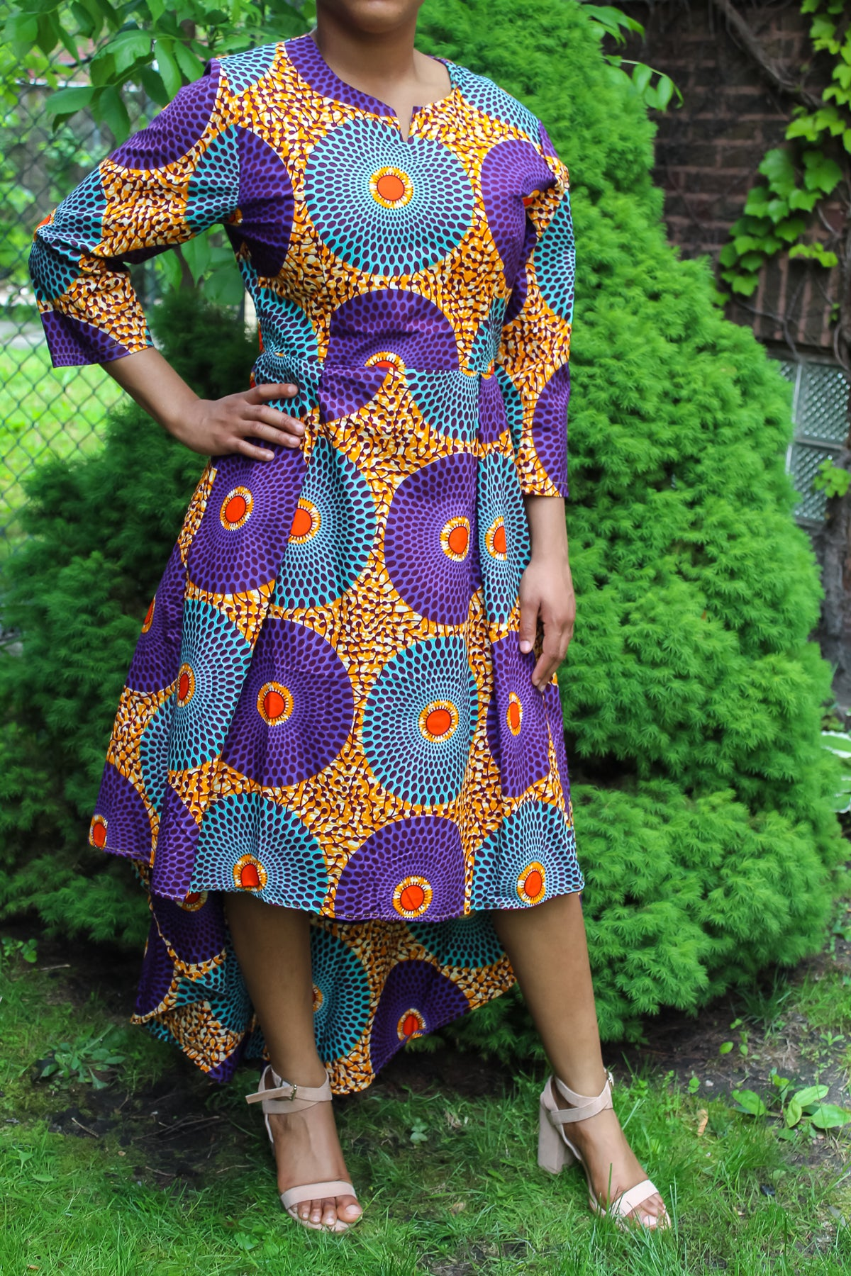 Purple & Blue Circle Print Dress