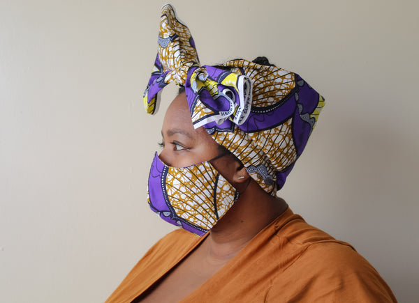 Purple & Yellow Mask Head Wrap Set