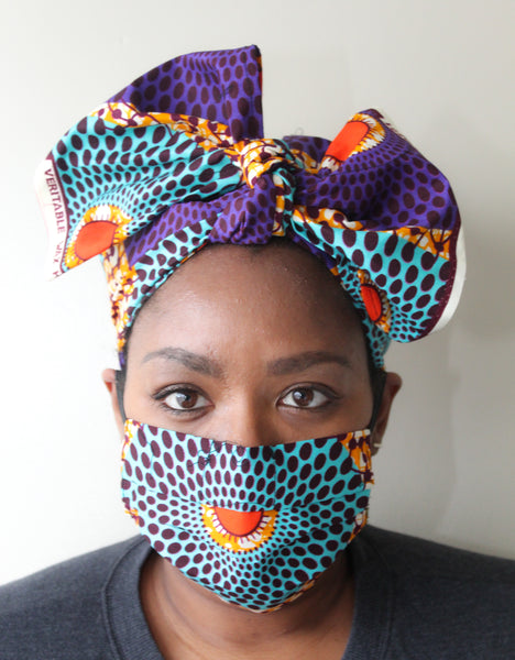 Mask & Head Wrap Set, Teal & Purple
