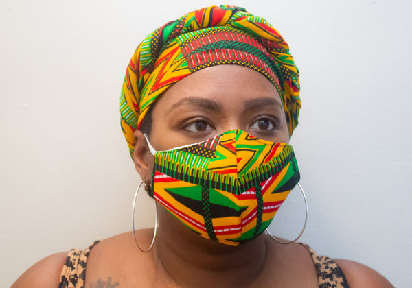 Green, Black & Red African Print Face Mask & Head Wrap Set