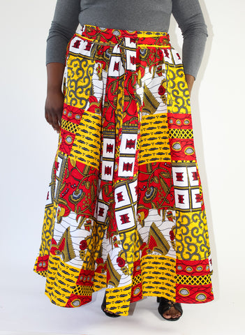 Red & Gold African Print Skirt