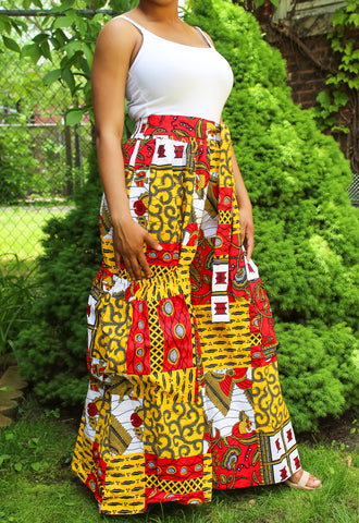 Red & Gold African Print Pants