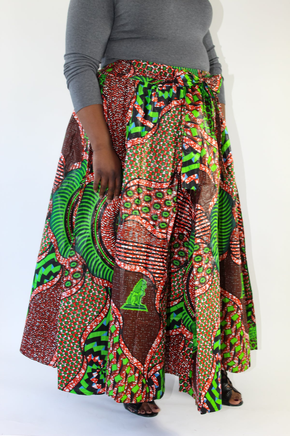Orange, Green, Blue African Print Skirt