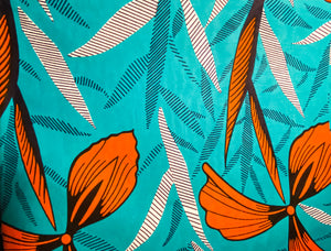 Teal & Orange Floral Fabric