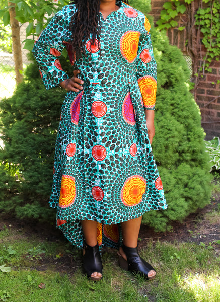 Teal Circle Print High Low Dress