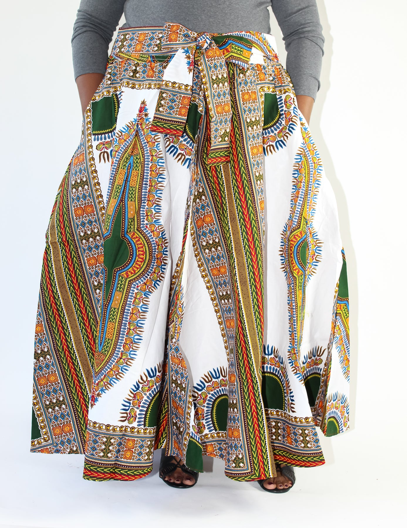 White Dashiki Print Maxi Skirt