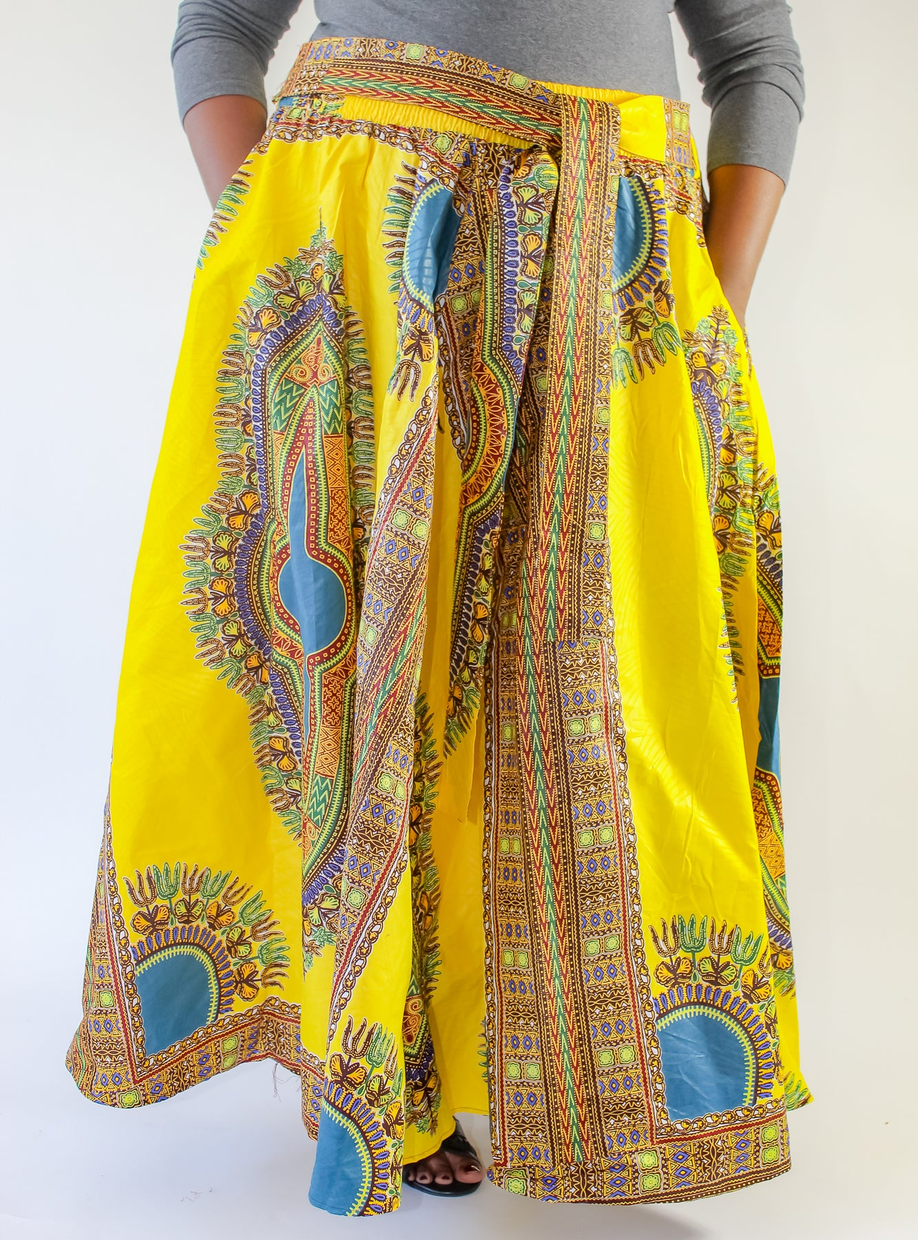 Yellow Dashiki Print Skirt