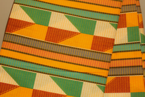 Gold & Green Geo Fabric