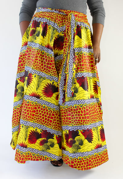Yellow & Red Fan Print Maxi Skirt