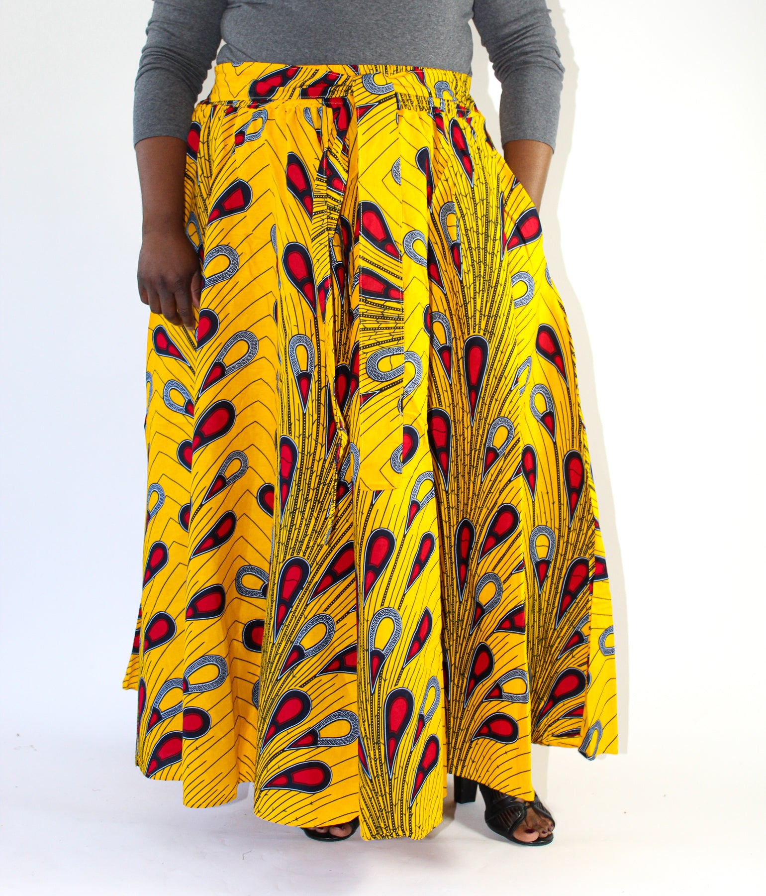 Yellow, Red & Navy African Print Skirt