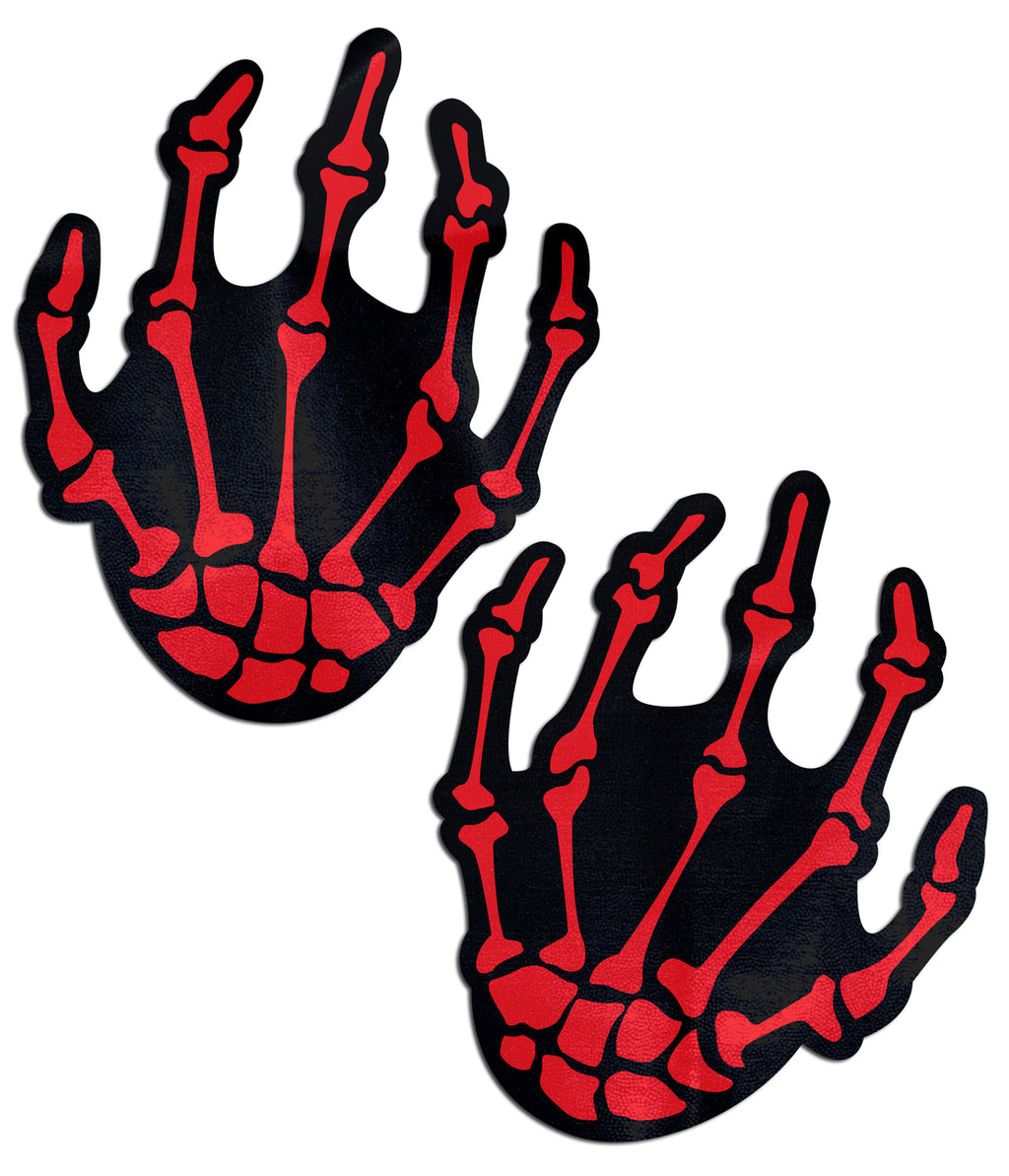 Red Skeleton Hands Pasties