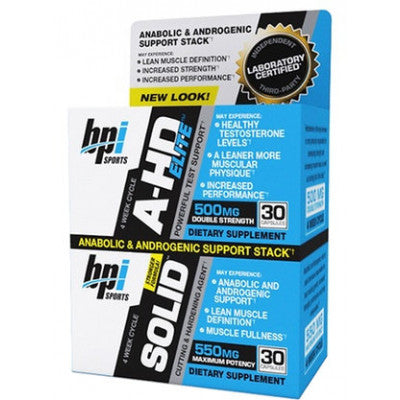 BPI SPORTS, A-HD ELITE +A-HD SOLID , 30 + 30 CAPSULES (2 Packs).