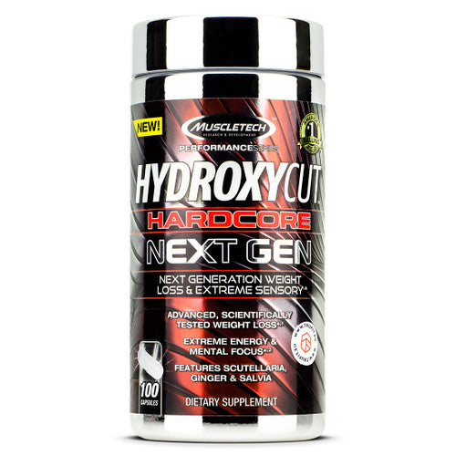 MUSCLETECH HYDROXYCUT HARDCORE NEXT GEN, 100 CAPSULES( white capsules)