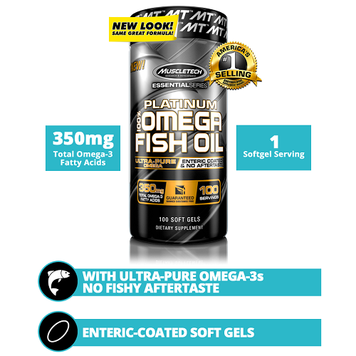 MUSCLETECH ESSENTIAL SERIES PLATINUM 100% FISH OIL, 100 SOFT GELS