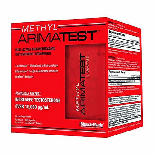 MUSCLEMEDS METHYL ARIMATEST , 120 CAPSULES + 60 SUBZORB TABLETS