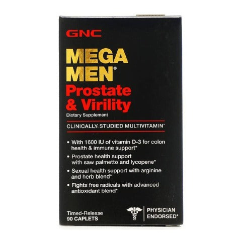 GNC Mega Men Prostate and Virility Multivitamin - Timed-Release 90 Caplets.