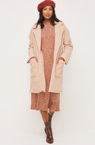 Fuzzy Neutral Lapel Coat