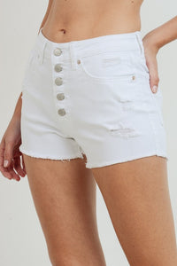 Button-Fly Distressed Short