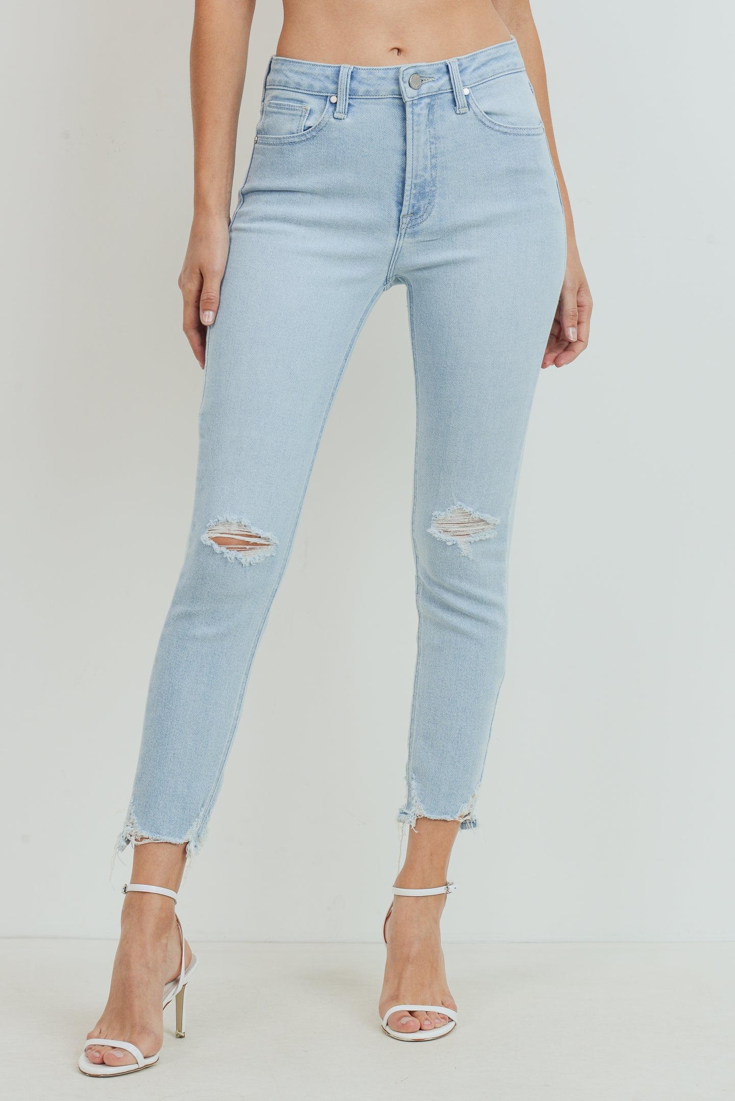 High Rise Distressed Light Wash Skinny