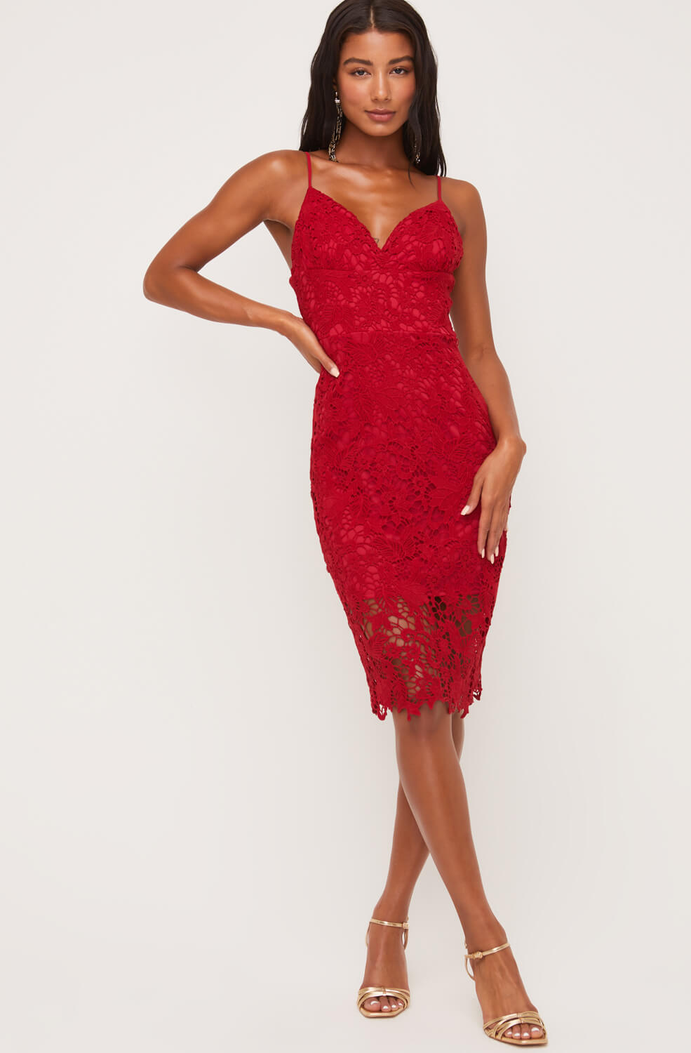 Lady In Red Lace Dress