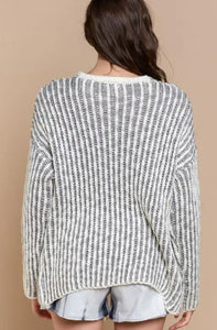 2 Tone Striped Cardigan