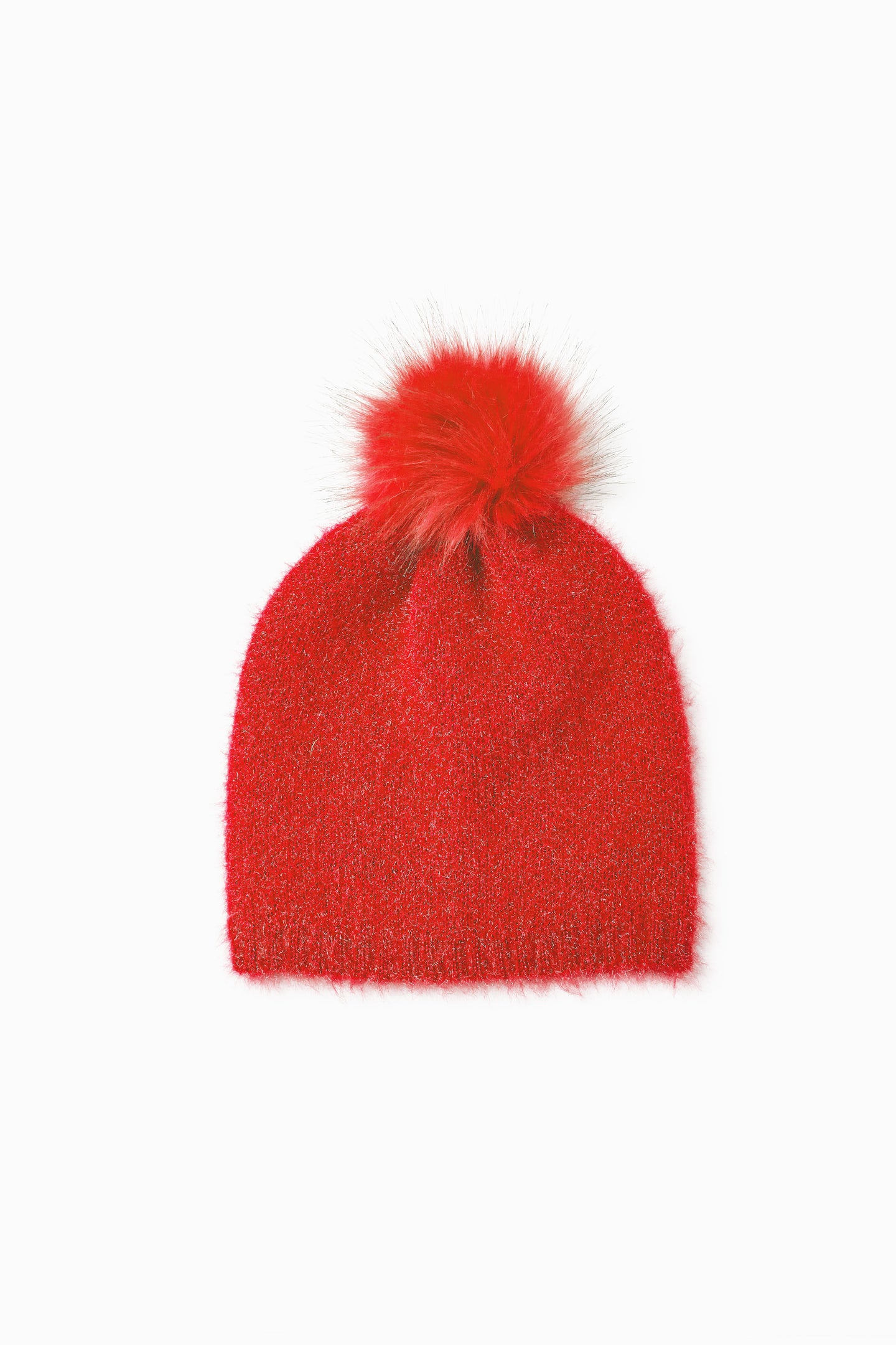 Red Pom Pom Hat - Red