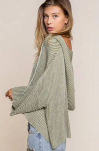 Green Tie Up Pullover