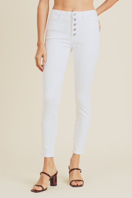 High Rise Button Fly White Skinny