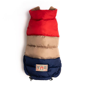 Red, Tan Navy Color Block Puffer 24""