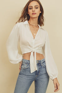 Satin Tie-Front Crop Top